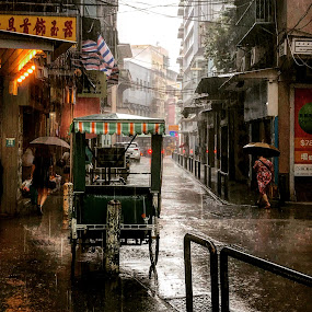 Bucolic Macauscape by Renato Marques - Instagram & Mobile iPhone ( rain, rainy day, iphone7, old days, instagram, macau, golden years, pedicab, remind, melancholy, no return, rainy, heavy rain, old street, street, bucolic, landscape, street photography )