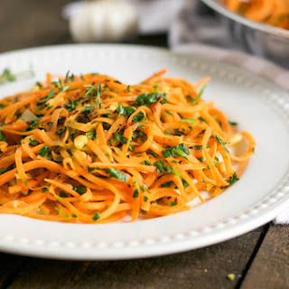 Sweet Potato Noodles with Chopped Spinach And Thyme.