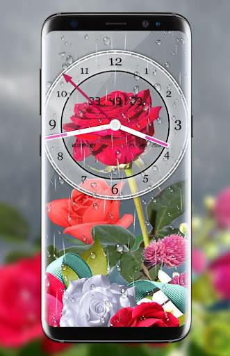 Rose Analog Clock 3D: Rain Drop Live Wallpaper HD 1.3 screenshots 1
