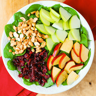 Apple Cranberry Spinach Salad with Balsamic Vinaigrette.