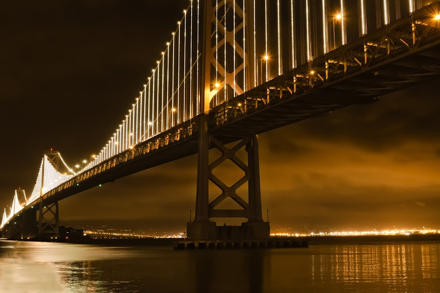 Light Show on the Bay Bridge, San Francisco by Andrew Tolsma - Travel Locations Landmarks ( landmark, travel )