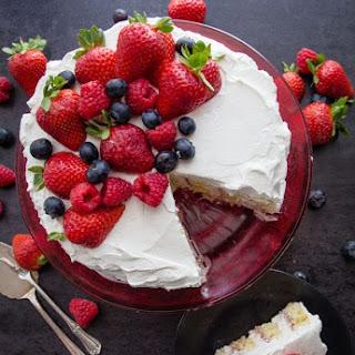 Strawberries and Cream Vertical Layer Cake Recipe