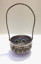 Photo: Plique-à-Jour Enamels by Diane Echnoz Almeyda -Rainbows Vessel (Basket Form) - Fine Silver, Plique-à-Jour Enamels, iolites, garnets - Approximate size 88mm (h) x 40mm (diam) (includes handle) - $4500.00 US