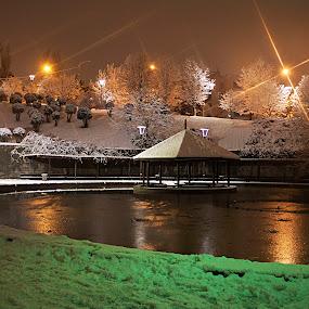 NIGHT COLORS by Nihan Bayındır - City,  Street & Park  Night ( lights, reflection, park, nature, snow, night, landscape )