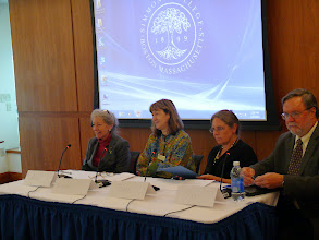 Photo: Michèle V. Cloonan, (GSLIS Dean and Professor, Simmons); Ann Wolpert (Director of Libraries, MIT); Paula Matthews (Stanford Calderwood Director and Librarian, Boston Athenaeum); Greg Pronevitz, (Executive Director of the Massachusetts Library System)