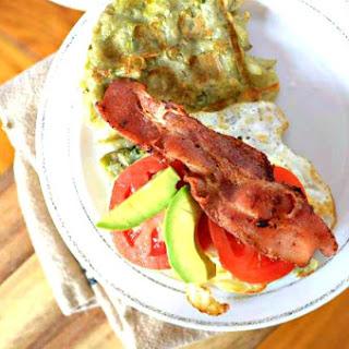 Hash Brown Waffle Breakfast Sandwich with Avocado.