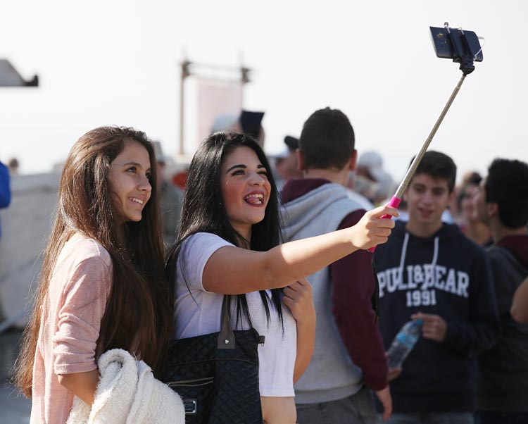 At the Acropolis: A selfie stick in action.