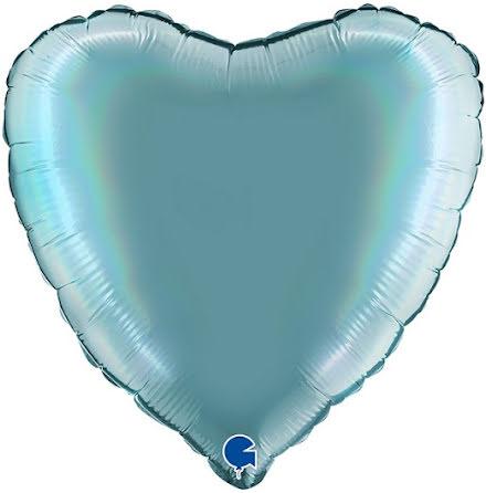 Folieballong Hjärta Rainbow - platinum tenerife sea, 46 cm