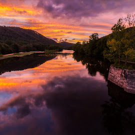 West Virginia Reflected by Kevin Frick - Landscapes Sunsets & Sunrises ( sunset, river, west virginina )