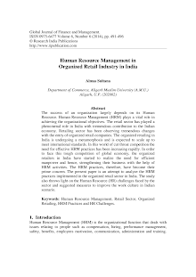 Human Resource Management Study on Organized Retail Industry in India