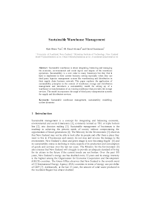 White Paper Study on Sustainable Warehouse Management