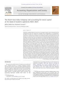 The Dutch East-India Company and accounting for social capital at the dawn of modern capit