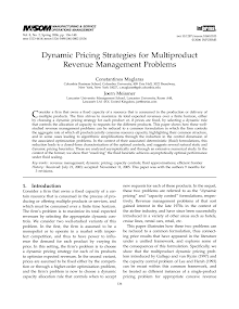 Dynamic Pricing Strategies for Multiproduct Revenue Management Problems