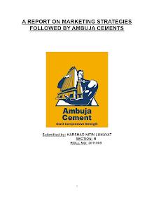 MARKETING STRATEGIES OF AMBUJA CEMENTS