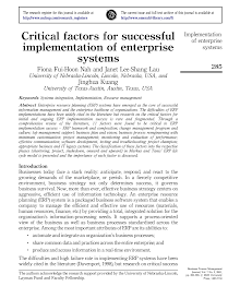 Research Study on Critical Factors for Successful Implementation of Enterprise Systems