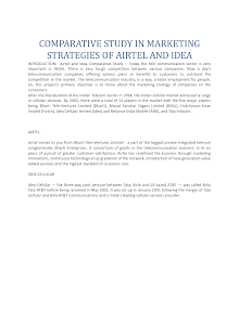 Comparative Study in Marketing Strategies of Airtel and Idea