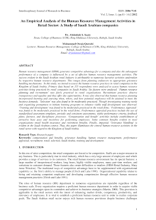 Empirical Analysis of the Human Resource Management Activities in Retail Sector