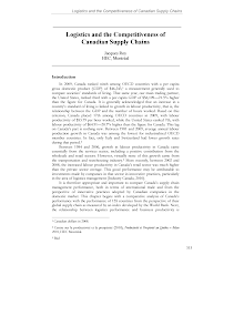 Logistics Study on Canadian Supply Chains