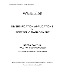MBA Project on Diversification Applications in Portfolio Management