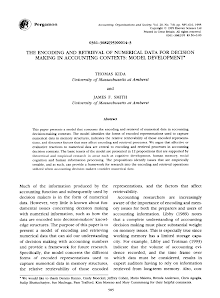 THE ENCODING AND RETRIEVAL OF NUMERICAL DATA FOR DECISION MAKING IN ACCOUNTING CONTEXTS