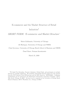 Study on E-commerce and Market Structure