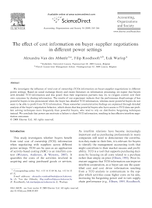 The effect of cost information on buyer–supplier negotiations in different power settings
