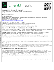 Market reactions to qualified audit reports research approaches