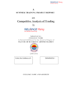 MBA Finance Project Report on A Competitive Analysis of Trading in Reliance Money