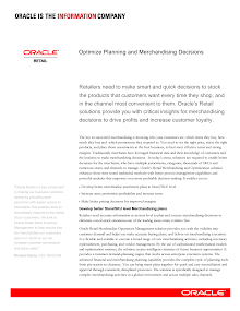 Study Report on Optimize Planning and Merchandising Decisions