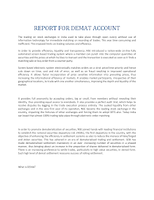 Report for Demat Account