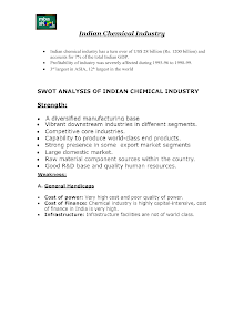 SWOT Analysis of Indian Chemical Industry