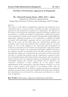 Study on Performance Appraisal Techniques Adopted in an Organization
