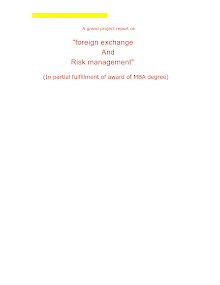 Financial project report on Foreign exchange and Risk management