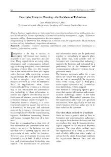 Study in Enterprise Resource Planning – Backbone of E-Business