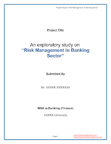 MBA Project Report Risk Management Banking Sector