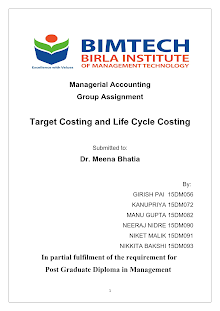 Target Costing and Life Cycle Costing