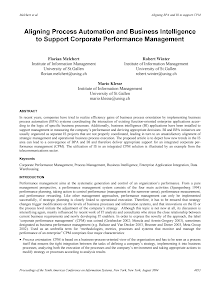 Aligning Process Automation and Business Intelligence to Support Corporate Performance Man