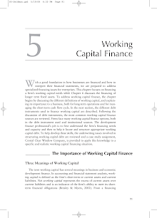Working Capital Finance.