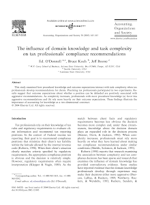 The influence of domain knowledge and task complexity on tax professionals compliance rec