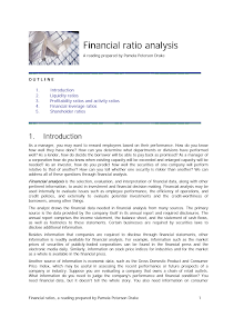 Study on Financial Ratio Analysis