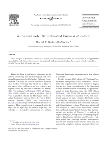 A research note: the unfinished business of culture