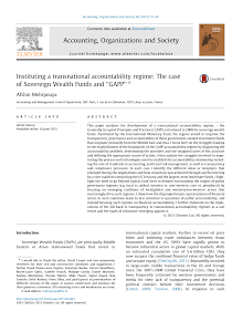 Instituting a transnational accountability regime: The case of Sovereign Wealth Funds and