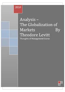 Analysis - The Globalization of Markets