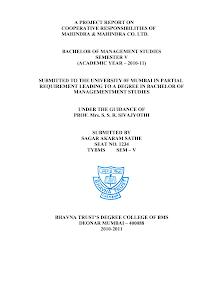 Blackbook project on CSR of mahindra & mahindra