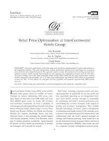 Study Paper on Retail Price Optimization at InterContinental Hotels Group