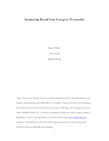 White Paper on Separating Brand from Category Personality