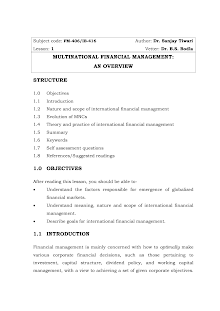 Study on Nature and Scope of International Financial Management