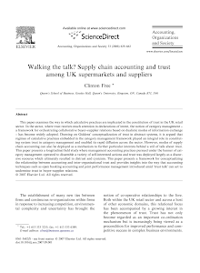 Walking the talk Supply chain accounting and trust among UK supermarkets and suppliers