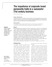 Study on Importance of Corporate Brand Personality