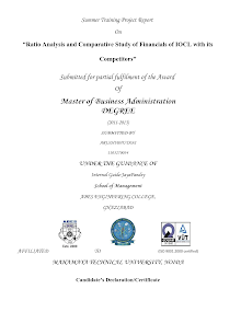 """Ratio Analysis and Comparative Study of Financials of IOCL with its Competitors"""